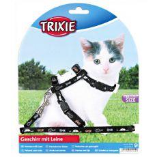 Ham și lesă pentru pisici cu modele în culoare neagră.