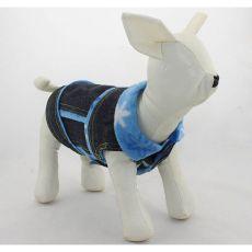 Vestă de blugi pentru câini – cu flori albastre, M
