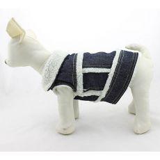 Vestă de blugi pentru câini – cu blană sintetică albă, S