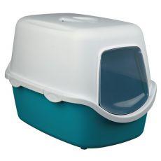 Toaletă pentru pisici, cu uşă şi mâner - turcoaz