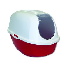 Toaletă pentru pisici MAGIC CAT, cu capac, roşie - 53x39x41cm