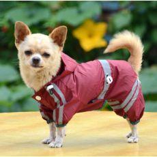 Impermeabil reflectorizant pentru câine – roșu - arămiu intens, XS