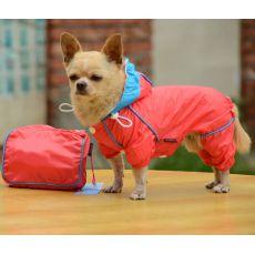 Hăinuță de ploaie pentru câini, în gentuță – roz, XS