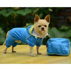 Hăinuță de ploaie pentru câini, în gentuță – culoare albastră, XS