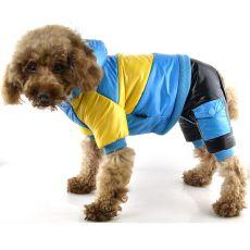 Jachetă pentru câini – galben cu albastru, XS