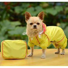 Hăinuță de ploaie pentru câini, în gentuță – culoare galbenă, S