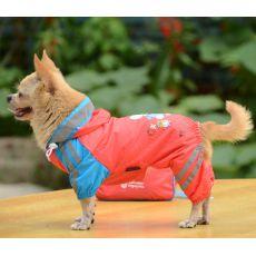 Hăinuță de ploaie pentru câini, cu motiv cu fată – culoare roz, XS