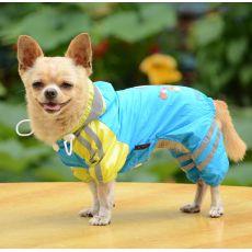 Hăinuță de ploaie pentru câini, cu motiv cu fată – culoare albastră, XS