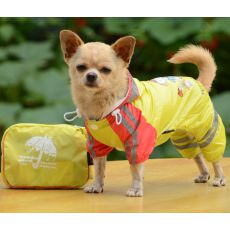 Hăinuță de ploaie pentru câini, cu motiv cu fată – culoare galbenă, XS