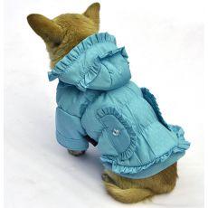 Jachetă pentru câini, cu buline – culoare albastră, XS