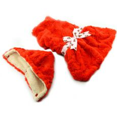 Pulover cu glugă pentru câine – portocaliu cu fundă – XXL