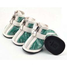 Pantofi pentru câine – imprimeu argintiu – verde, XL