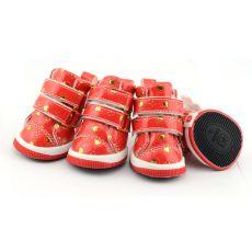 Pantofi pentru câine- roșii cu inimioare și velcro, M