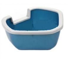 Toaletă tip colțat pentru pisici - albastru - 57,5 x 51,5 x 22 cm