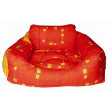 Culcuș de câine - pătrat, portocaliu, 75 x 60 x 23 cm