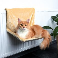 Pat pentru pisici, atașabil de calorifer, material pluș, culoare bej – 48x26x30cm