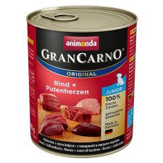 tin GranCarno Fleisch Junior Beef +Turkey hearts - 800g