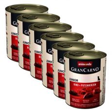 tin GranCarno Fleisch Junior Beef + Turkey hearts- 6x800g