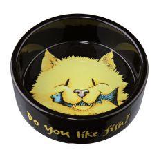 Castron pentru pisici, negru, din ceramică - 0,3 l