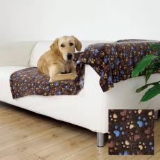 Pătură pentru câini LASLO – maro cu lăbuțe, 150 x 100 cm