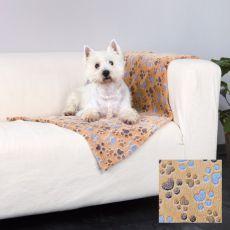 Pătură pentru câini LASLO – bej cu lăbuțe, 150 x 100 cm