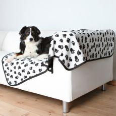 Pătură pentru câini BENNY, cu două fețe – negru cu alb, 150 x 100 cm