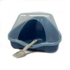 Toaletă de colţ cu capac NORA 1C albastru - 18 x 13 x 11 cm