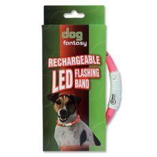 Zgardă pentru câini cu LED, DOG FANTASY - roz, 70 cm
